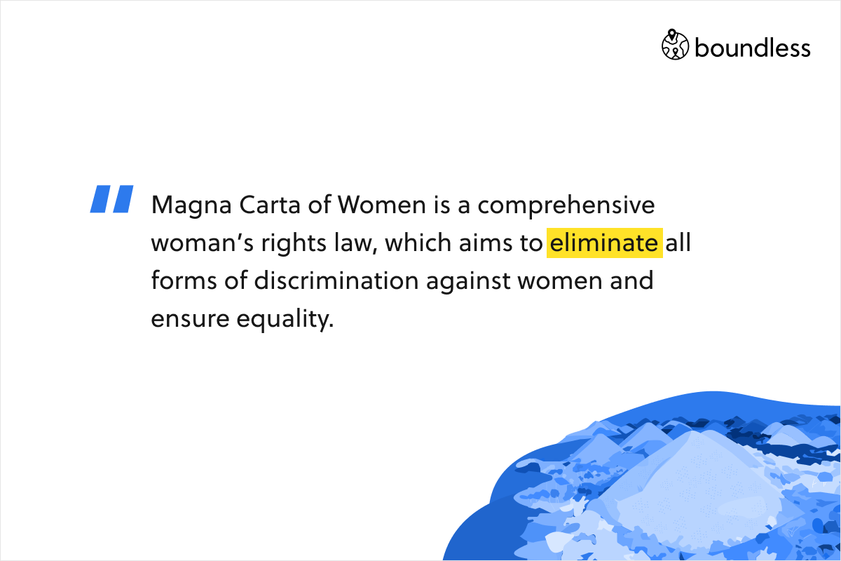 Magna Carta of Women is a comprehensive woman's rights law, which aims to eliminate all forms of discrimination against women and ensure equality.