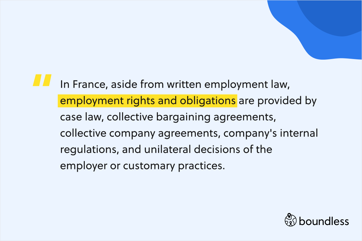 In France, aside from written employment law, employment rights and obligations are provided by case law, collective bargaining agreements, collective company agreements, company's internal regulations, and unilateral decisions of the employer or customary practices.