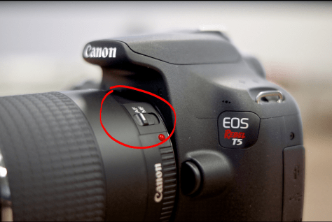 Photo of Canon REBEL T5 camera how how to switch between auto and manual focus