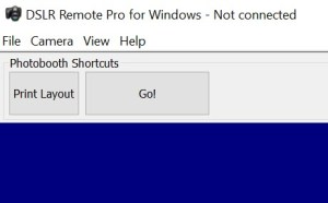 DLSR Remote Pro 3.8.1 main screen with customized Shortcut Buttons.