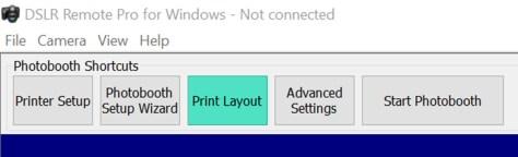 Print Layout Editor button DSLR Remote Pro 3.9.1 main screen