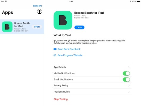 TestFlight screen showing Breeze Booth for iPad icon
