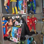 "NKOTB with DC Direct 13"" superhero figures"