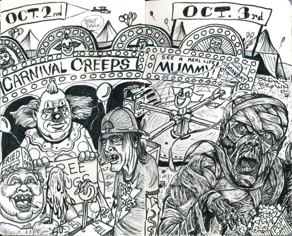 """Carnival Creeps"" and ""Mummy Monday"" ink. Click for larger image."