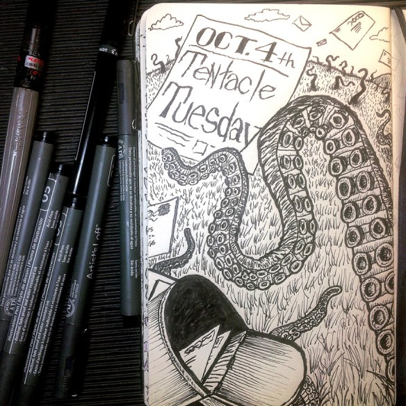 """Tentacle Tuesday"" inks. Click for larger picture."