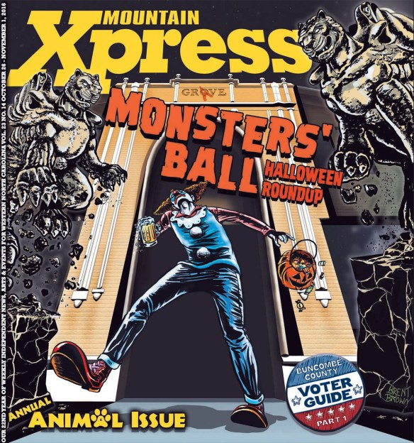 2016 Halloween cover for Mountain Xpress by Brent Brown