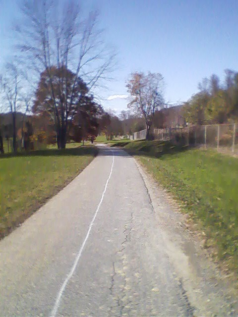 Greenway path shoots off from walking path that circles Patton Park on Hwy. 25/Asheville Hwy.