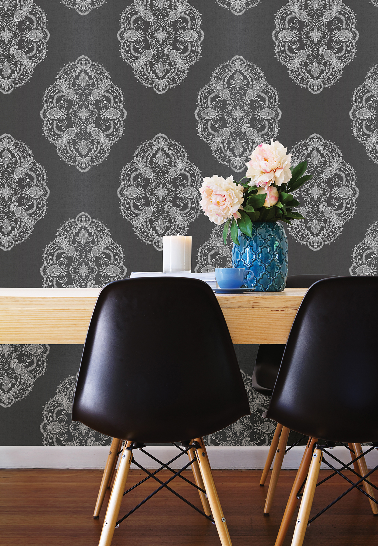 Image result for chic wallpaper in home