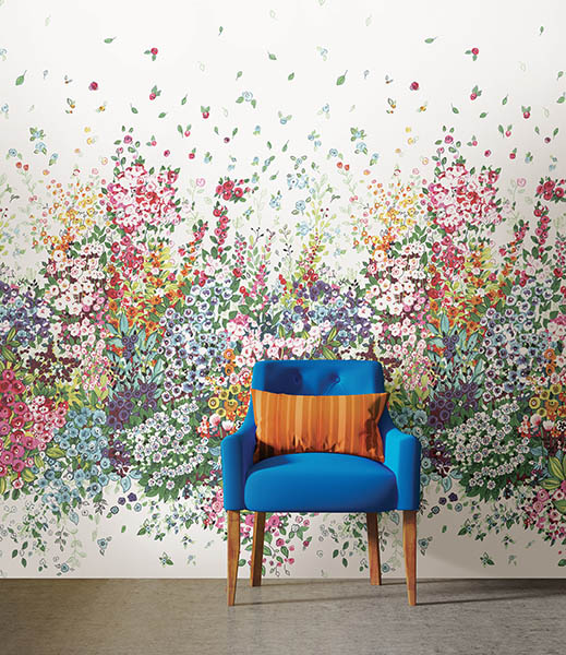 Contemporary colourful interior, yellow brick wall, armchair