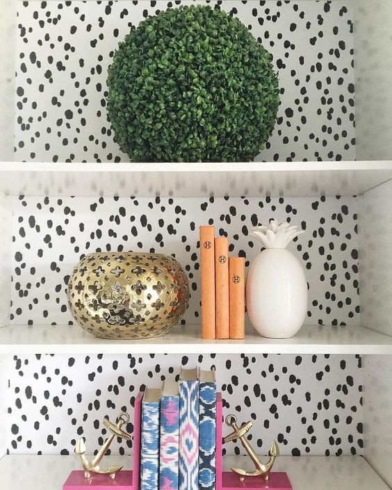 polka dot wallpaper shelves