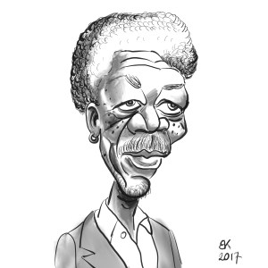 How to Draw A caricature of Morgan Freeman - Sketch 42