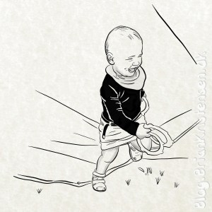 Drawing My Cute Granddaughter Running - Sketch 271