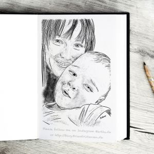 Pen and Ink Drawing of My Daughter and Grandaugther - Sketch 392