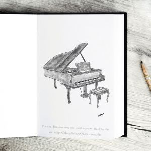 Pen and Ink Drawing of a Piano - Sketch 399