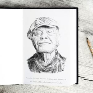 Pen and Ink Drawing of the Trubadur  Kim Larsen - Sketch 401