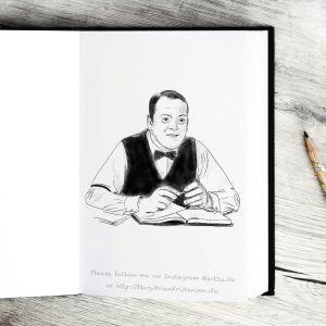 Pen and Ink Drawing of Kristen Skjern From Matador - Sketch 409