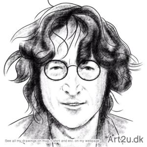 Pen and Ink Drawing of John Lennon - Sketch 593
