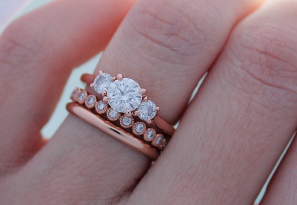 Jessicas 18K Rose Gold Ring Stack Brian Gavin