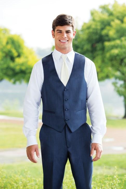 Modern jacketless tuxedo in slate blue
