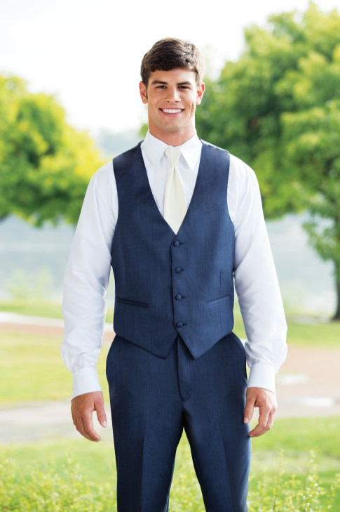 Modern jacketless tuxedo in slate blue
