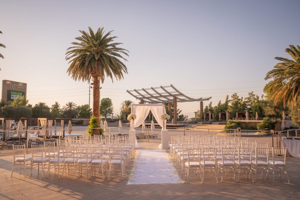 A outdoor ceremony at a luxurious las vegas destination wedding.