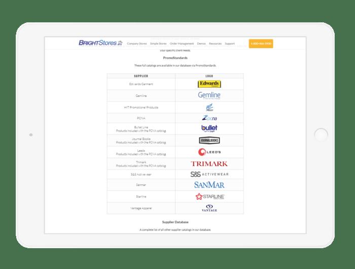 PromoStandards Suppliers List Screenshot on Tablet