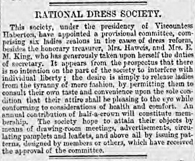 The Birmingham Daily Post describes the Rational Dress Society in 1881.