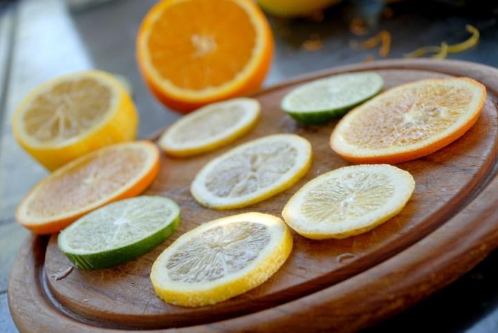 lemon, lime, orange slices