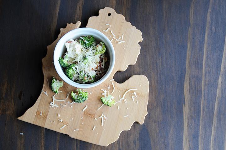 Broccoli Cauliflower Salad On Michigan Cutting Board