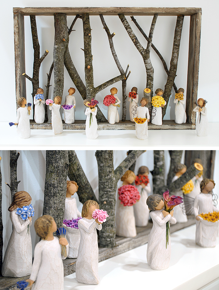 Rustic Willow Tree Display With Wooden Box And Branches