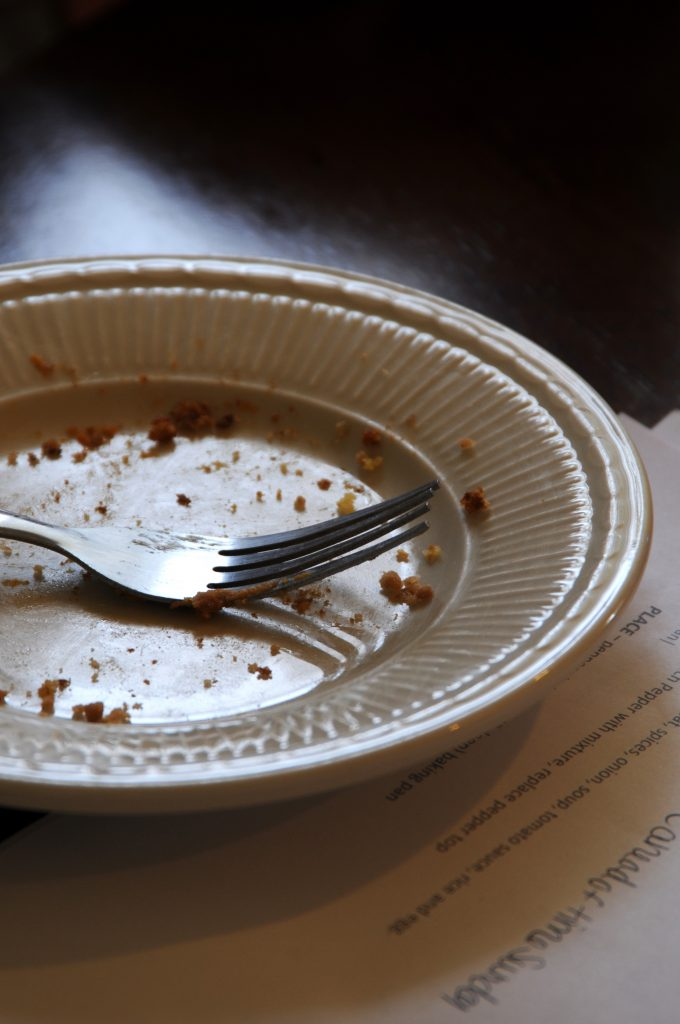 Pumpkin Square crumbs on empty plate