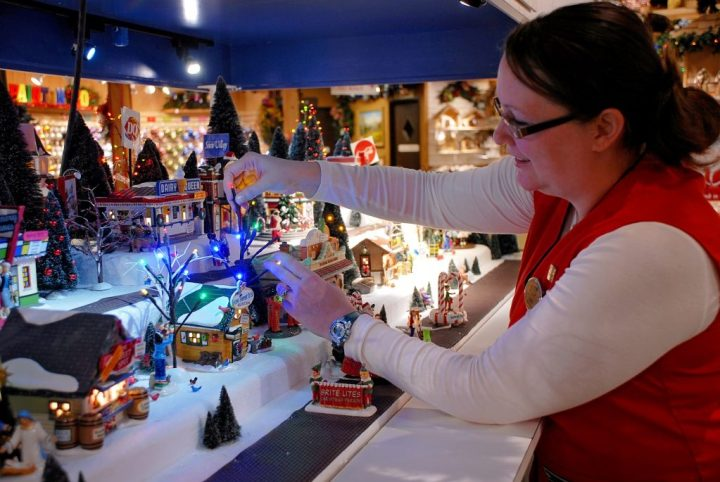 Jodi Setting Up D56 Display At Bronner's Christmas Wonderland