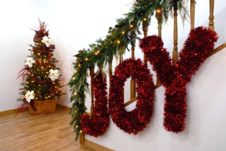 Christmas Decorations With JOY Tinsel Letters
