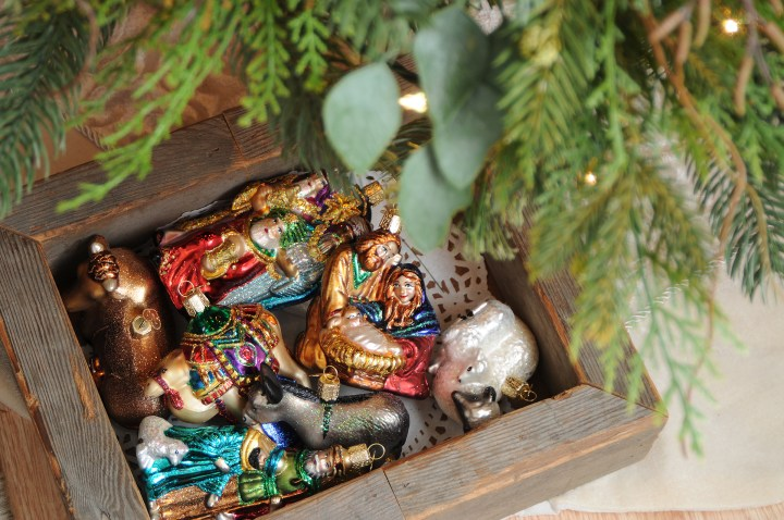Old World Nativity Glass Ornament Set From Bronner's Christmas Wonderland