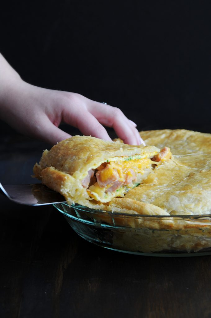Serving Ham Omelette Pie Slice With Melty Cheese