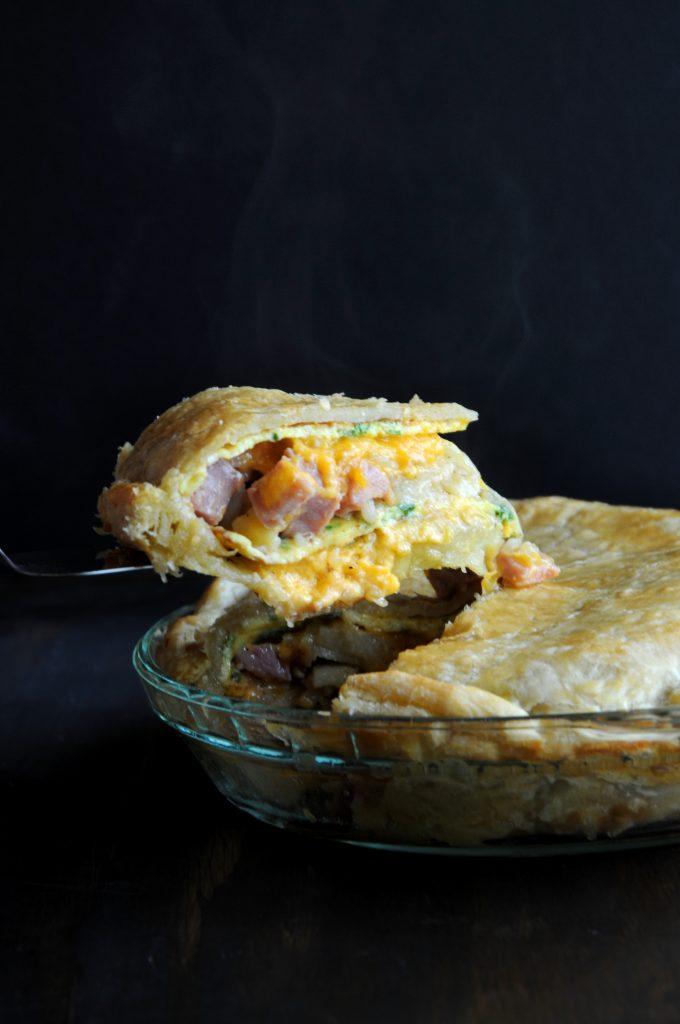 Steaming Hot Ham Omelette Pie Slice