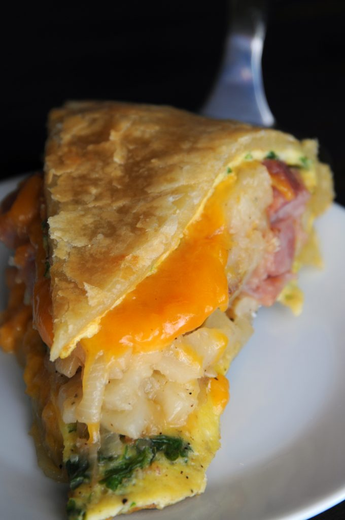 Ham Omelette Pie Slice, Close Up, With Golden Melted Cheese