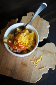 Bronner's Baked Macaroni And Cheese Recipe On Michigan Cutting Board