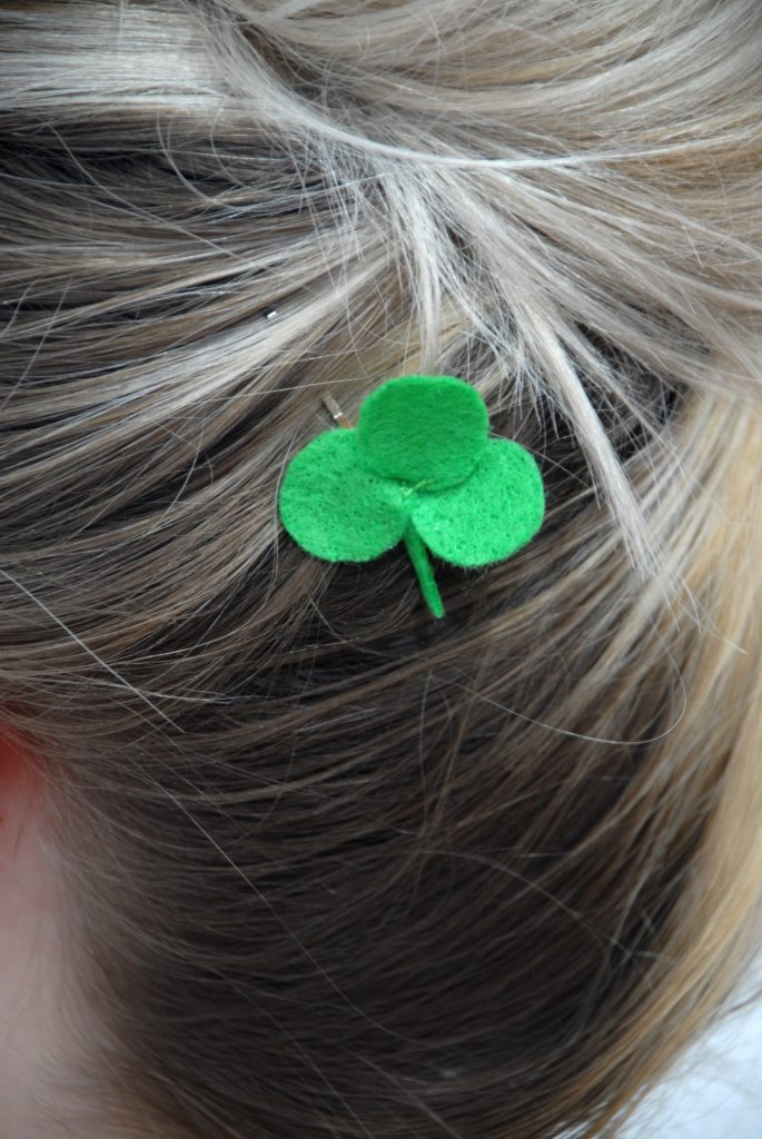Felt Shamrock Hairpin Closeup