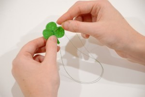 Stitch Shamrock Hairpin Petals Together