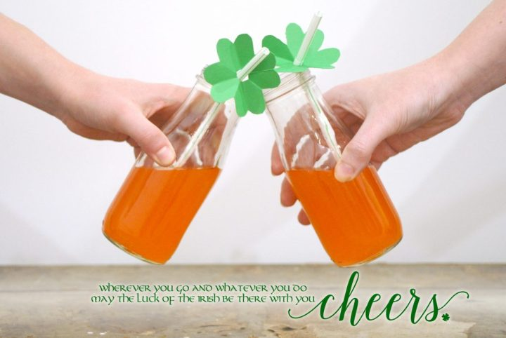 Irish Cheer St. Patrick's Day Shamrock Straw Topper, Orange Soda Cheers