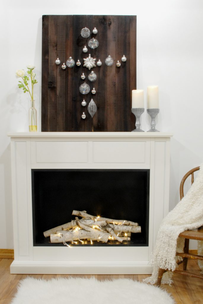 Barn wood With Easter Cross For Lent, Faux Fireplace With Birch Logs And Christmas Lights