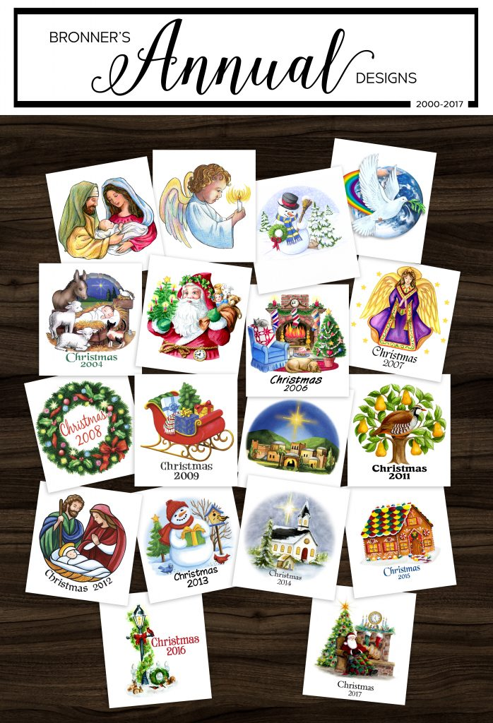 Bronner's Christmas Wonderland's Exclusive Annual Glass Christmas Ornament Designs 2000-2017
