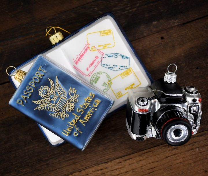United States Of America Passport And DSLR Camera Glass Ornament