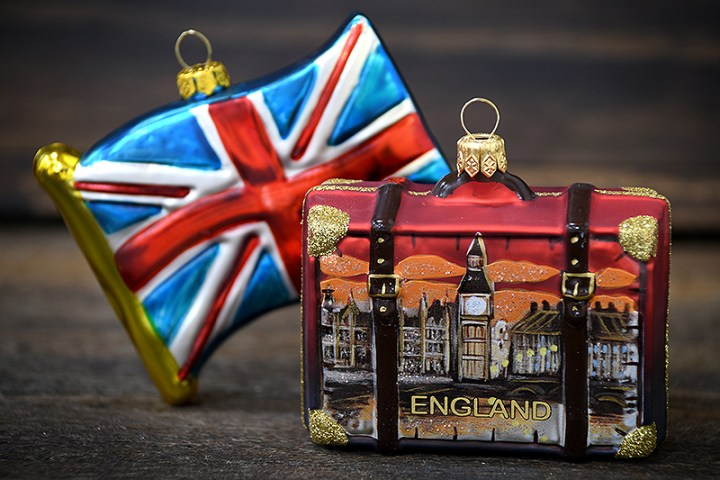 Exclusive Union Jack Flag Of The United Kingdom Ornament, And England Suitcase With Big Ben Glass Ornament From Bronner's Christmas Wonderland