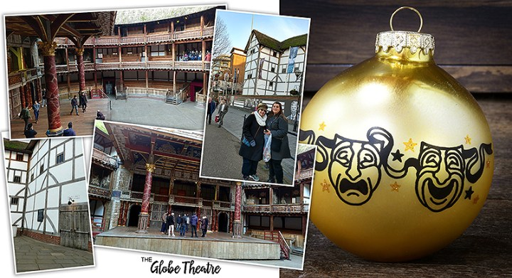 London's Globe Theatre ; Drama Masks Glass Ornament