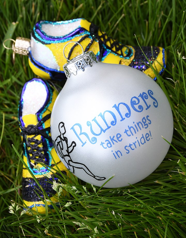 Runners take things in stride, Bronner's exclusive ornament and Old World Christmas tennis shoes ornament.