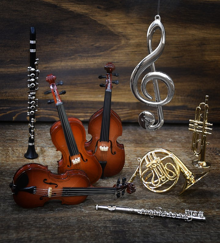 Upright Bass, Cello, Violin, Treble Clef, French Horn, Trumpet, Flute and Clarinet Ornaments