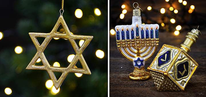 Star Of David, Menorah and Dreidel Ornaments From Bronner's Christmas Wonderland