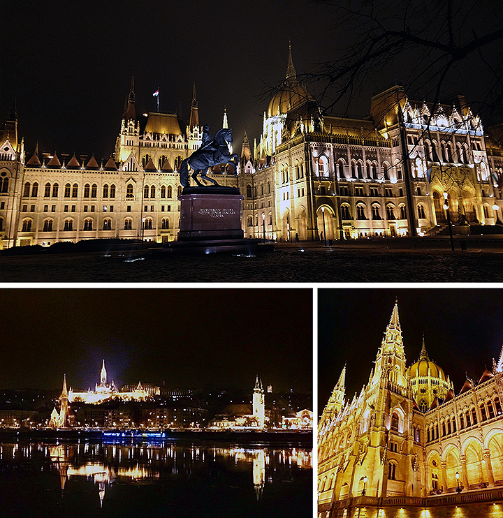 St. Stephen's Basilica, Hungarian Parliament Building, and Buda Castle in Budapest, Hungary.